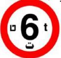 תמרור תנועה בצורת עיגול. התמרור בצבע בעל מסרת בצבע אדום. בתוכו רקע לבן. על הרקע הספרה 6 בגדול ובצבע שחור. התמרור מורה על: אסורה הכניסה לכל רכב, שמשקלו הכולל המותר בטונות עולה על הרשום בתמרור