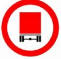 תמרור תנועה עגול בעל מסגרת אדומה. בתוכו רקע לבן. על הרקע אייקון אדום של אחוריים של משאית. התמרור מורה על: אסורה הכניסה לרכב המוביל חומר מסוכן החייב בסימון על פי דין, למעט אספקת דלק וגז